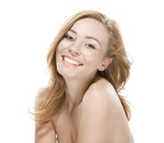 Natural beauty girl with good skin smiles Stock Photo