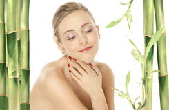 Natural beauty girl with well-groomed skin care Stock Photography