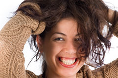 Natural beauty holding hair. Pretty young woman holding hair Royalty Free Stock Photo