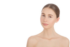 Natural beauty makeup. Woman with a natural beauty makeup look - isolated over a white background Stock Photography