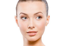 Natural beauty portrait. Close-up studio portrait of young beautiful woman - natural beauty concept Royalty Free Stock Photos