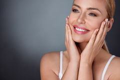 Natural beauty portrait. Of beautiful spa middle aged woman Royalty Free Stock Photography