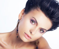 Natural beauty portrat of young woman face Stock Photography