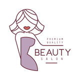 Natural Beauty Salon Hand Drawn Cartoon Outlined Sign Design Template With Blond Female Character Stylized To Underline Stock Image