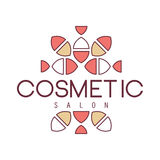 Natural Beauty Salon Hand Drawn Cartoon Outlined Sign Design Template With Geometric Simple Pattern Separated By Text. Artistic Promotion Logo For Cosmetology royalty free illustration