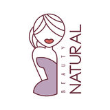 Natural Beauty Salon Hand Drawn Cartoon Outlined Sign Design Template With Half Body Of Blond Woman In Violet Dress Stock Image