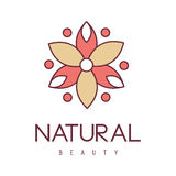 Natural Beauty Salon Hand Drawn Cartoon Outlined Sign Design Template With Red And Yelow Stylized Geometric Flower Stock Photos