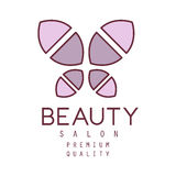 Natural Beauty Salon Hand Drawn Cartoon Outlined Sign Design Template With Simple Geometric Shape Violet Butterfly Stock Image
