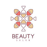 Natural Beauty Salon Hand Drawn Cartoon Outlined Sign Design Template With Stylized Simple Geometric Pattern In Red And Royalty Free Stock Photos