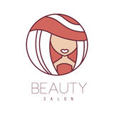 Natural Beauty Salon Hand Drawn Cartoon Outlined Sign Design Template With Summer Tan Girl In Wide Hat In Round Frame. Artistic Promotion Logo For Cosmetology Stock Photography