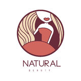 Natural Beauty Salon Hand Drawn Cartoon Outlined Sign Design Template With Woman In Red Dress Outfit Details In Round Royalty Free Stock Photo