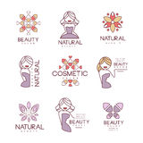 natural beauty salon set of hand drawn cartoon outlined sign design
