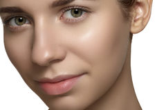 Natural beauty, skincare & make-up. Woman face with clean shiny skin Stock Image