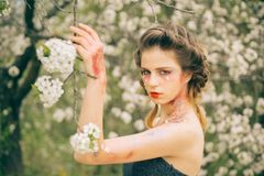 Natural beauty and spa therapy. face and skincare. womens health. allergy to flowers. Woman with spring fashion makeup. Spring. weather forecast. Summer girl royalty free stock photos