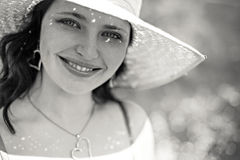 Natural beauty in straw hat Stock Photo