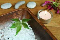 Natural beauty therapy. Wellness and spa therapy treatment for beauty. Salt crystals and green leaf in wooden bowl Royalty Free Stock Image