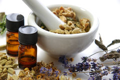 Natural beauty treatment with spices. And herbs using mortar Royalty Free Stock Image