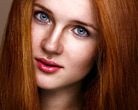 Natural beauty vertical portrait of a ginger girl Royalty Free Stock Image