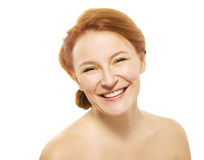 Natural beauty woman on white background Royalty Free Stock Photos