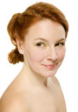 Natural beauty woman on white background Stock Photo
