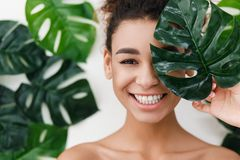 Free Natural Beauty. Young Woman With Healthy Skin Stock Photo - 145025210