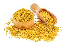 Natural bee pollen on white stock photo