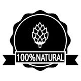100% natural beer. Circular icon with text and hop. 100% natural beer. Circular icon or bottle cap design with text and hop. Vector illustration on white Stock Images