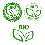Natural bio food abels in retro style Royalty Free Stock Photo