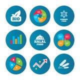 Natural Bio food icons. Halal and Kosher signs. Royalty Free Stock Image