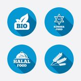 Natural Bio food icons. Halal and Kosher signs Royalty Free Stock Image