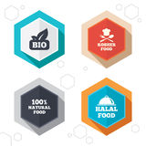Natural Bio food icons. Halal and Kosher signs. Hexagon buttons. 100% Natural Bio food icons. Halal and Kosher signs. Chief hat with fork and spoon symbol Stock Image