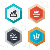 Natural Bio food icons. Halal and Kosher signs. Hexagon buttons. Natural Bio food icons. Halal and 100% Kosher signs. Gluten free agricultural symbol. Labels Stock Photography