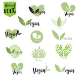 Natural, bio, fresh, healthy food logo set in vector Royalty Free Stock Photography