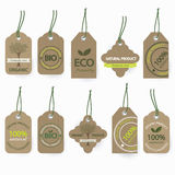 Natural bio organic cardboard labels set. Royalty Free Stock Photo
