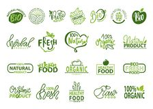 Natural Bio and Organic Food Vector Illustration. Isolated on white backdrop logos collection, icons of healthy 100 fresh products, advertising poster stock illustration