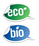 Natural bio product stickers. Set of natural bio product stickers in form of speech bubbles Royalty Free Stock Photo