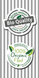 Natural bio quality tags Stock Photography