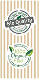 Natural bio quality tags Stock Photos