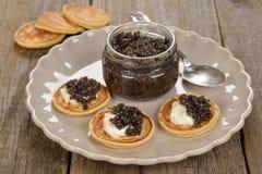 Natural black caviar royalty free stock photography
