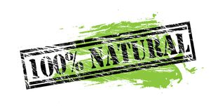 100 natural black and green stamp on white background. 100 percent natural black and green stamp Royalty Free Illustration
