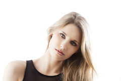 Natural blond woman, her head is bent at left Royalty Free Stock Image