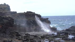 Natural Blow Hole in Hawaii stock video
