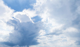 Natural blue cloudy sky, daytime, background photo Royalty Free Stock Images