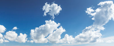 Natural blue cloudy sky. Panoramic background Stock Photography