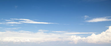 Natural blue cloudy sky. Panoramic background Stock Photo