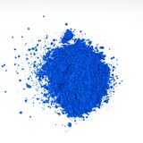 natural blue colored pigment powder stock photo