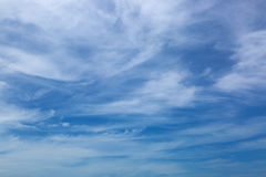 Natural blue feathery sky with Cirrus Clouds. Formation Stock Photos