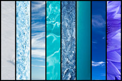 Natural blue gradation collage Royalty Free Stock Photos