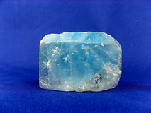 Natural Blue Topaz Crystal. A very large (16x9x7cm) deep natural blue blocky Topaz crystal from Namibia. Of interest to jewellers, collectors, and in alternative Royalty Free Stock Photography