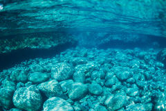 Natural Blue Water Pool Underwater Stock Image